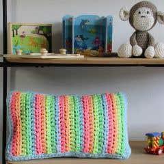 DIY  Crochet Pattern Neon Rainbow Cushion Cover