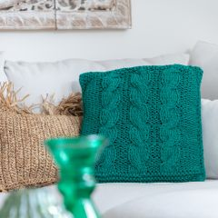 DIY Knitting Kit Cable Cushion Cover Rio