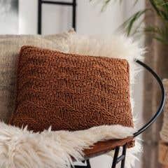 DIY Knitting Kit Cushion Bulky Textures Caramel Brown