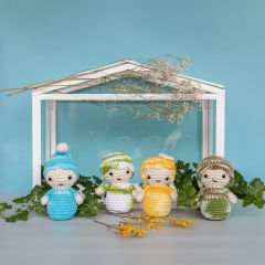 DIY Crochet Pattern Amigurumi Kokeshi four season dolls