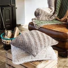 DIY Knitting Pattern RibbonXL Cushion Bulky Textures