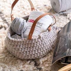 DIY Crochet Kit Zpagetti Basket Panama Beige