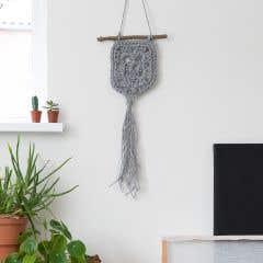 DIY Crochet Kit Wallhanger Elx Jute Grey Mist