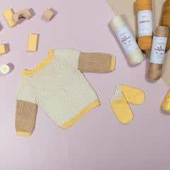 DIY kit de tejer baby suéter eucalyps bianco