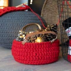 DIY Crochet Kit Zpagetti Basket Panama Red