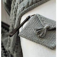 DIY Crochet Kit Knit look Clutch Silver Grey
