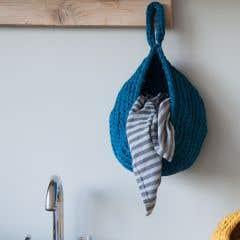 DIY Crochet Kit Storage Bag Dark Blue