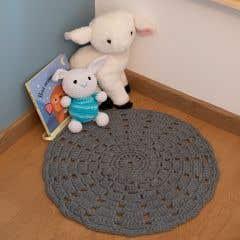 DIY Crochet Kit RibbonXL Mandala Rug Stone Grey
