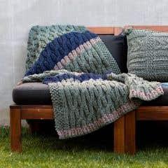 DIY Strickset Decke Sagres - Blau