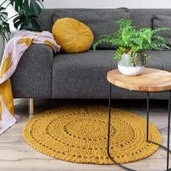 DIY Crochet Kit Round Rug Volterra Harvest Ocre